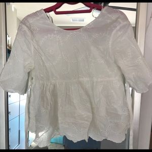 Zara TRF Collection White Tie Floral Blouse